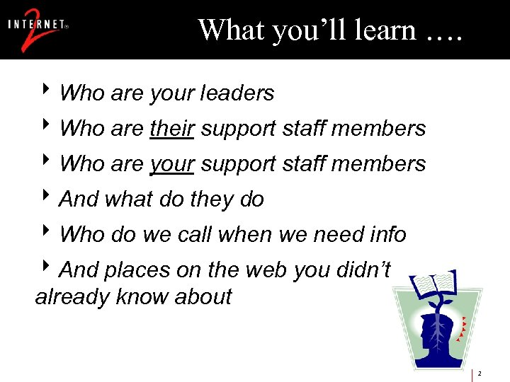 What you'll learn …. 8 Who are your leaders 8 Who are their support