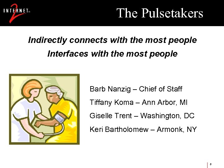 The Pulsetakers Indirectly connects with the most people Interfaces with the most people Barb