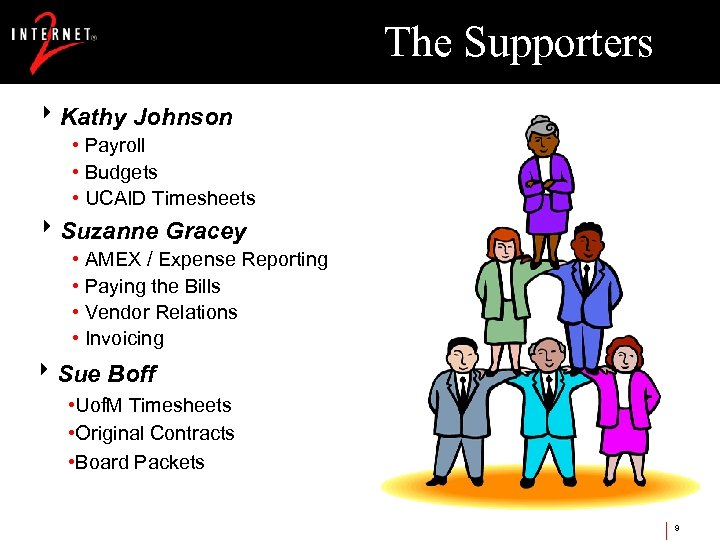 The Supporters 8 Kathy Johnson • Payroll • Budgets • UCAID Timesheets 8 Suzanne
