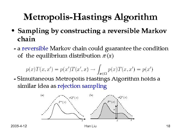 Metropolis-Hastings Algorithm • Sampling by constructing a reversible Markov chain - a reversible Markov