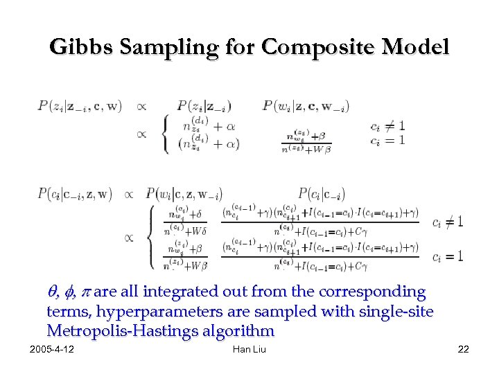 Gibbs Sampling for Composite Model q, f, p are all integrated out from the