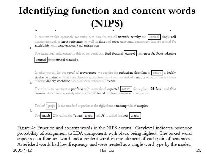 Identifying function and content words (NIPS) 2005 -4 -12 Han Liu 26