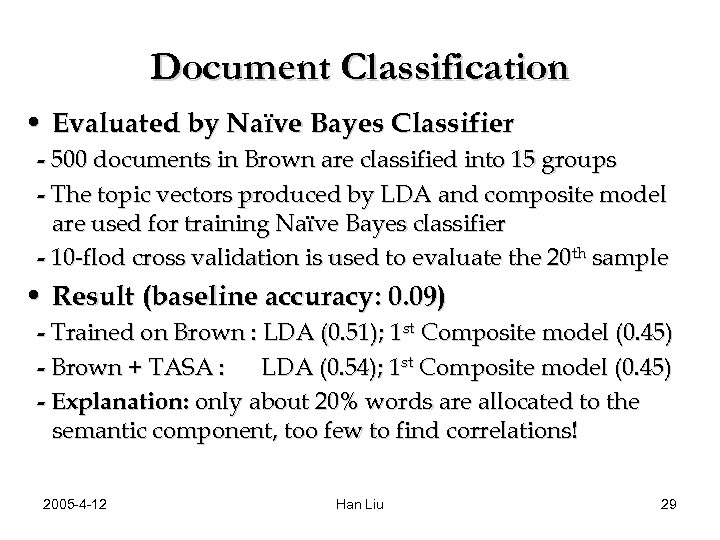 Document Classification • Evaluated by Naïve Bayes Classifier - 500 documents in Brown are