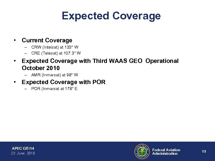 Expected Coverage • Current Coverage – CRW (Intelsat) at 133° W – CRE (Telesat)