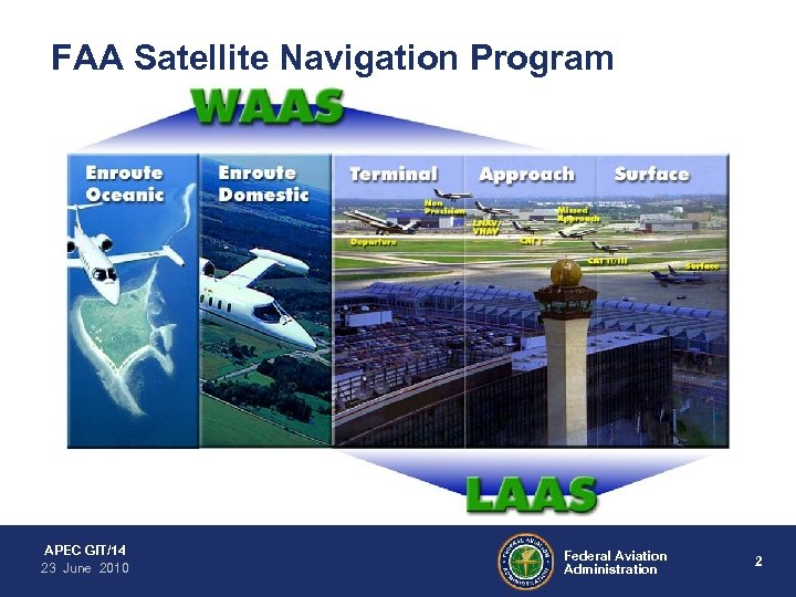 FAA Satellite Navigation Program APEC GIT/14 23 June 2010 Federal Aviation Administration 2