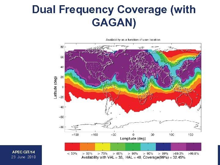 Dual Frequency Coverage (with GAGAN) • WAAS • EGNOS • MSAS • GAGAN APEC