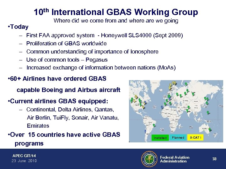 10 th International GBAS Working Group • Today – – – Where did we