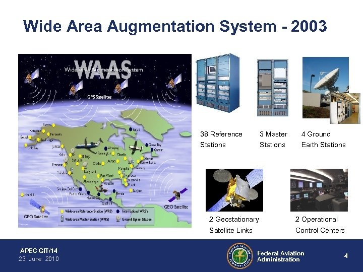 Wide Area Augmentation System - 2003 38 Reference 3 Master 4 Ground Stations Earth