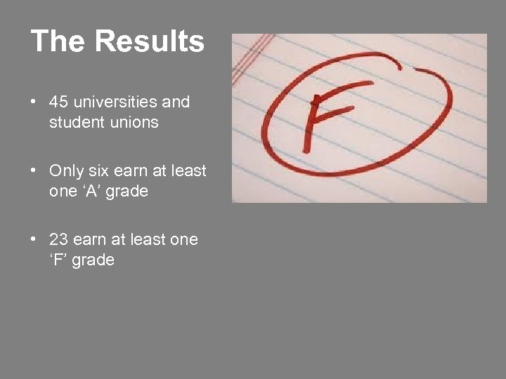 The Results • 45 universities and student unions • Only six earn at least