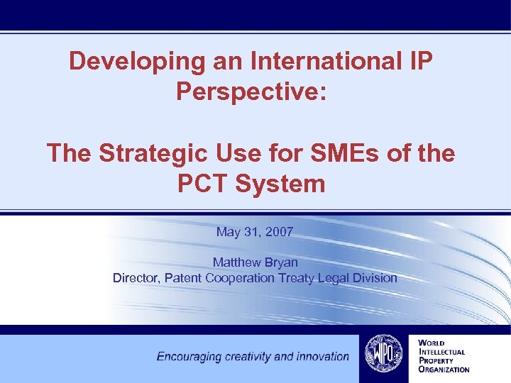 Developing an International IP Perspective: The Strategic Use for SMEs of the PCT System