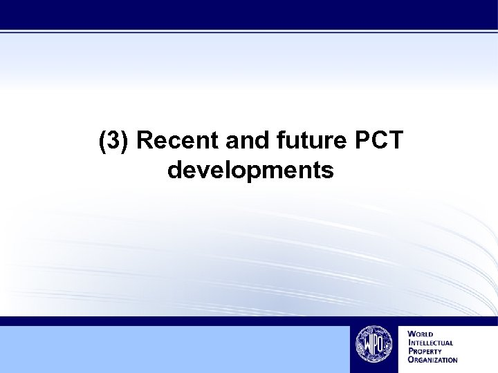 (3) Recent and future PCT developments