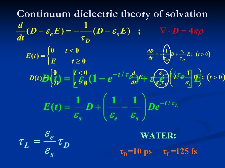 Continuum dielectric theory of solvation WATER: t. D=10 ps t. L=125 fs