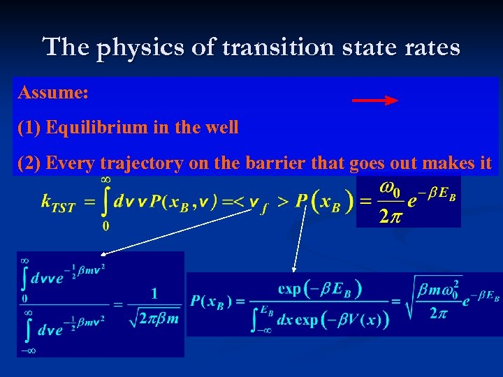 The physics of transition state rates Assume: (1) Equilibrium in the well (2) Every
