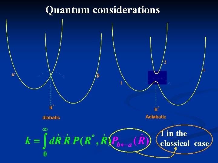 Quantum considerations 1 in the classical case