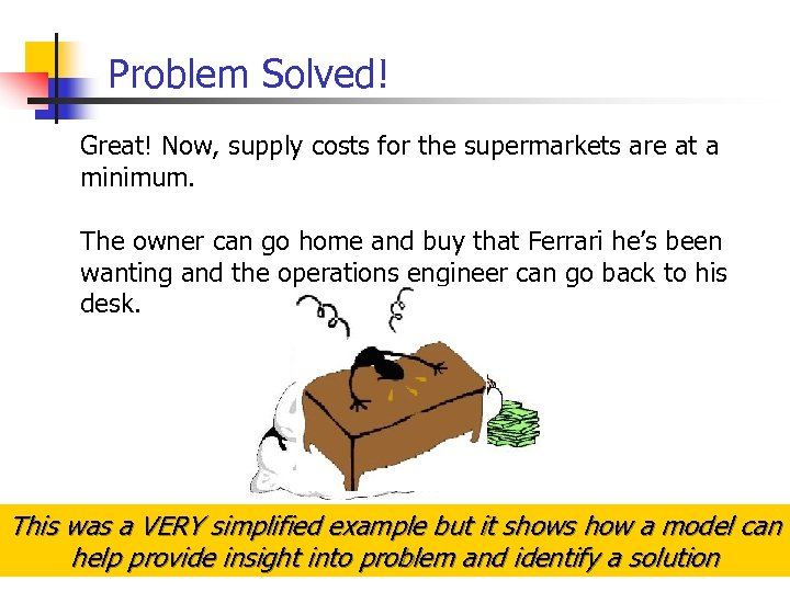 Problem Solved! Great! Now, supply costs for the supermarkets are at a minimum. The