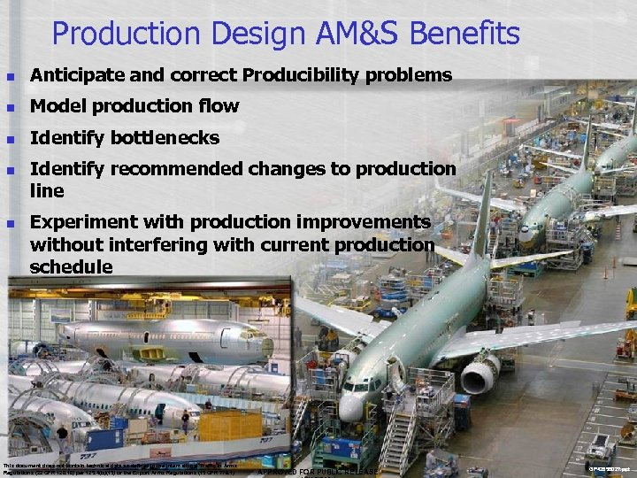 Production Design AM&S Benefits n Anticipate and correct Producibility problems n Model production flow