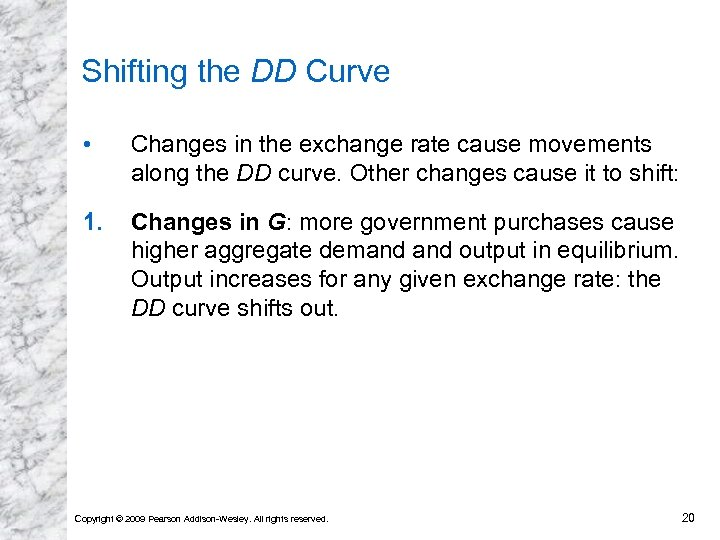 Shifting the DD Curve • Changes in the exchange rate cause movements along the