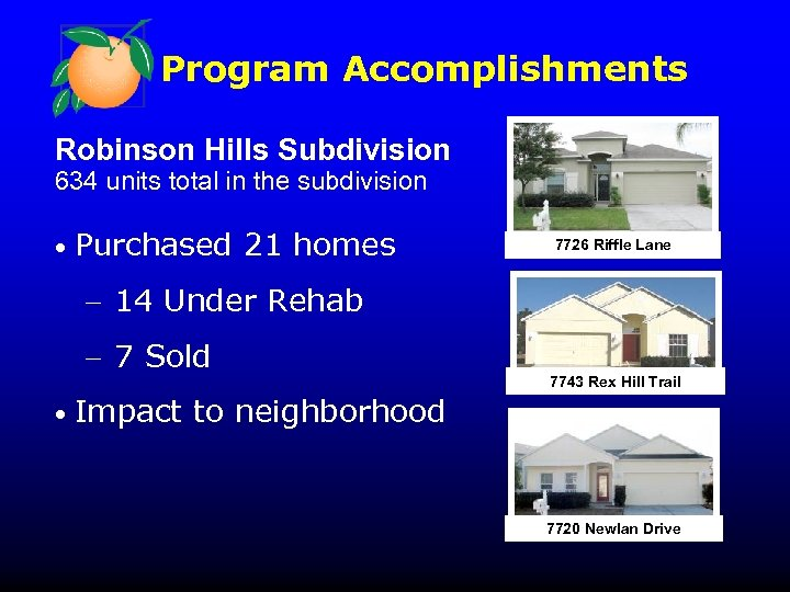 Program Accomplishments Robinson Hills Subdivision 634 units total in the subdivision • 7726 Riffle