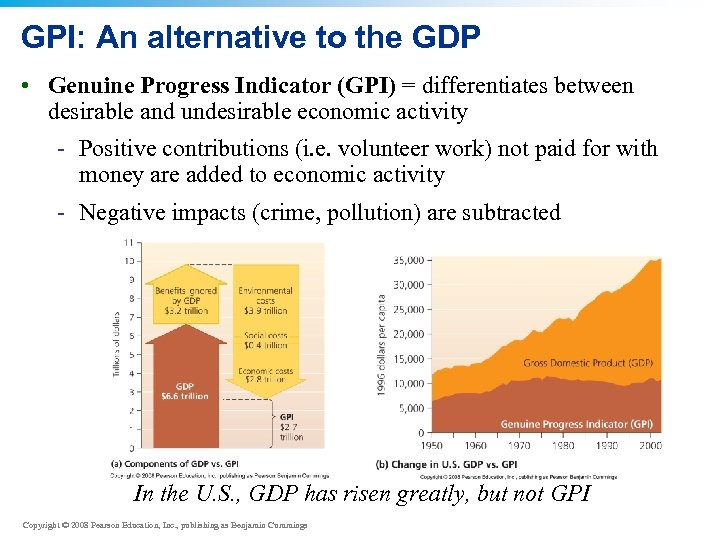 GPI: An alternative to the GDP • Genuine Progress Indicator (GPI) = differentiates between