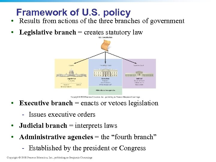 Framework of U. S. policy • Results from actions of the three branches of