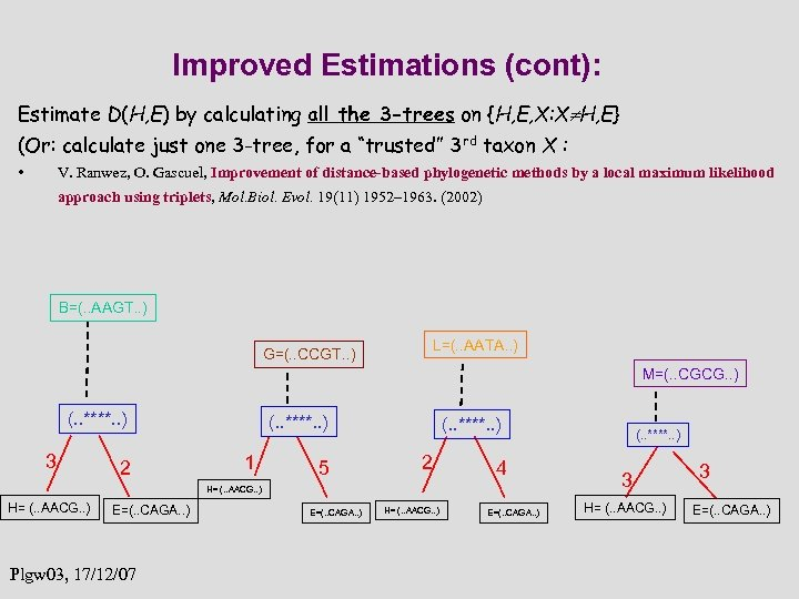 Improved Estimations (cont): Estimate D(H, E) by calculating all the 3 -trees on {H,