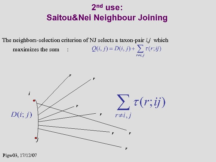 2 nd use: Saitou&Nei Neighbour Joining The neighbors-selection criterion of NJ selects a taxon-pair