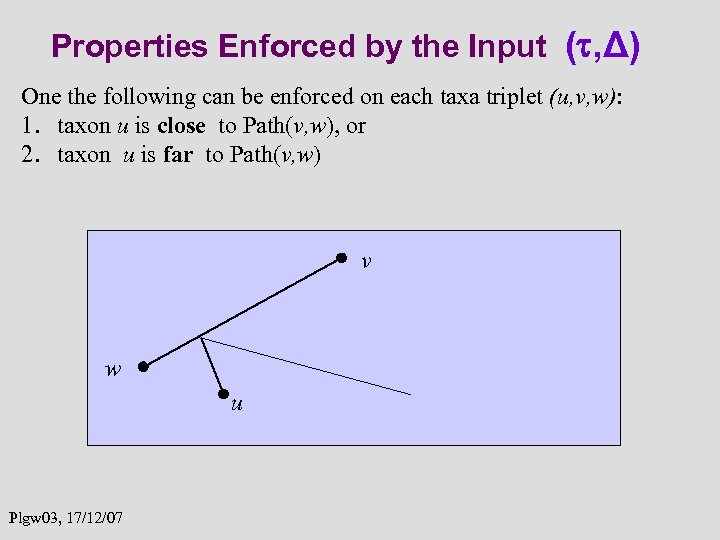 Properties Enforced by the Input ( , Δ) One the following can be enforced