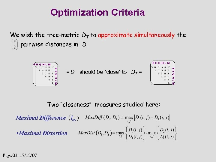 Optimization Criteria We wish the tree-metric DT to approximate simultaneously the pairwise distances in
