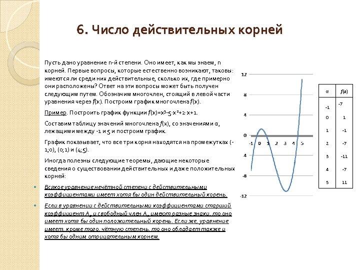 6. Число действительных корней Пусть дано уравнение n й степени. Оно имеет, как мы