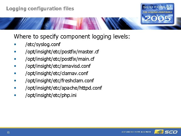 Logging configuration files Where to specify component logging levels: § § § § 12
