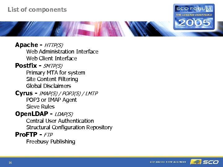 List of components Apache - HTTP(S) Web Administration Interface Web Client Interface Postfix -