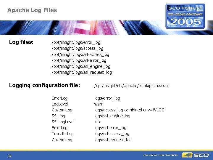 Apache Log Files Log files: /opt/insight/logs/error_log /opt/insight/logs/access_log /opt/insight/logs/ssl-error_log /opt/insight/logs/ssl_engine_log /opt/insight/logs/ssl_request_log Logging configuration file: Error.