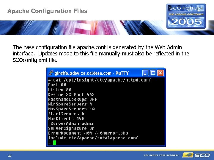 Apache Configuration Files The base configuration file apache. conf is generated by the Web