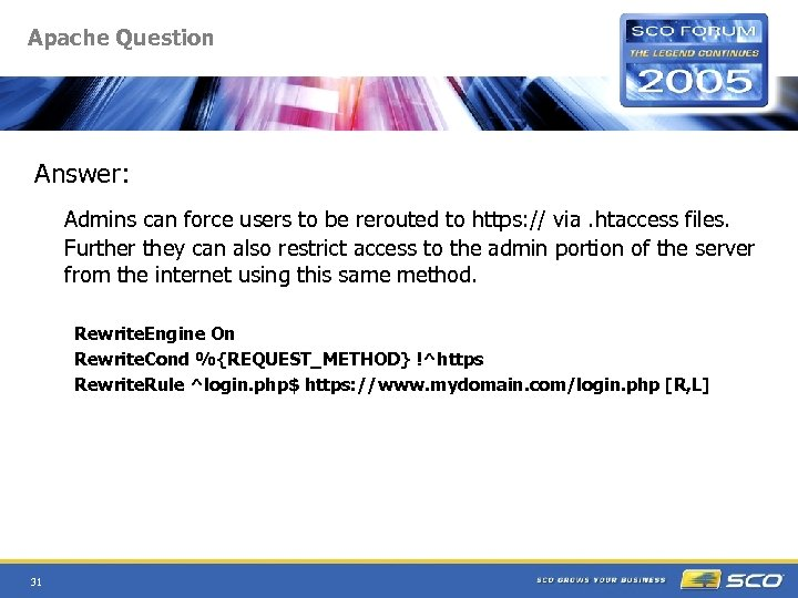 Apache Question Answer: Admins can force users to be rerouted to https: // via.