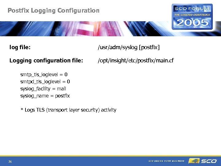 Postfix Logging Configuration log file: /usr/adm/syslog [postfix] Logging configuration file: /opt/insight/etc/postfix/main. cf smtp_tls_loglevel =