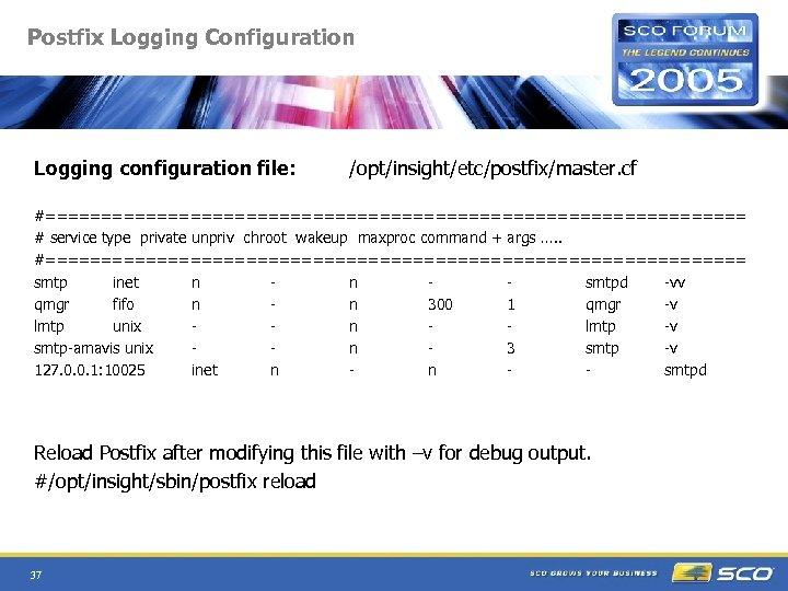 Postfix Logging Configuration Logging configuration file: /opt/insight/etc/postfix/master. cf #================================ # service type private unpriv