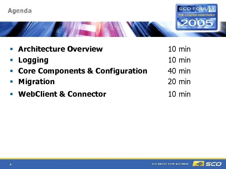 Agenda § § Architecture Overview Logging Core Components & Configuration Migration § Web. Client