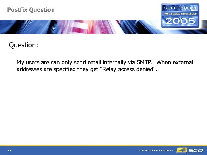 Postfix Question: My users are can only send email internally via SMTP. When external