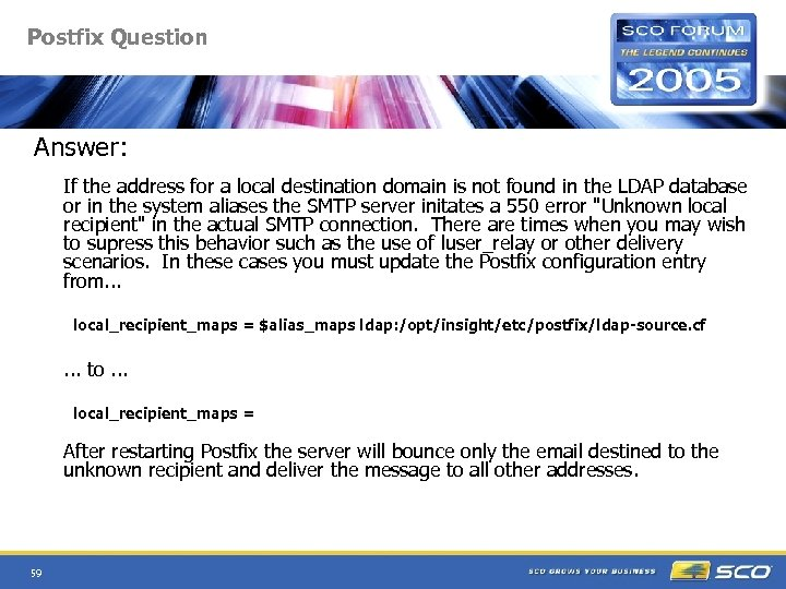 Postfix Question Answer: If the address for a local destination domain is not found