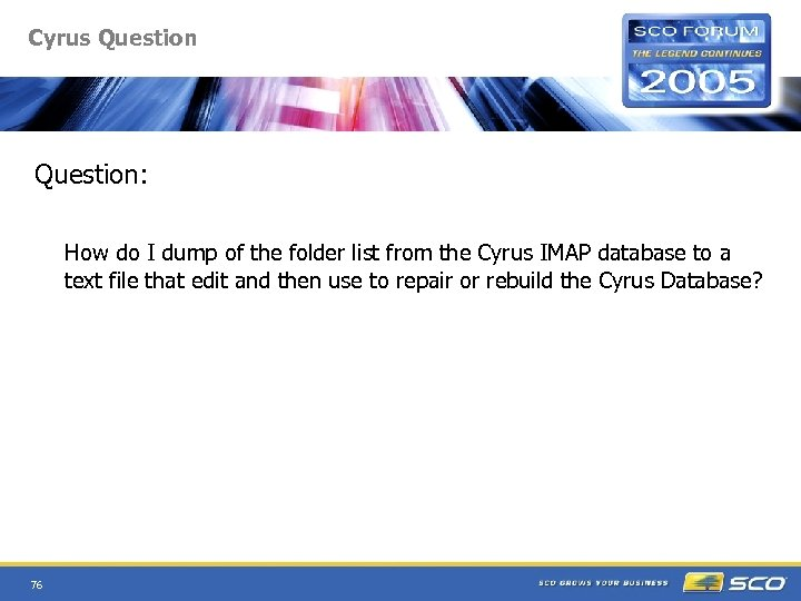 Cyrus Question: How do I dump of the folder list from the Cyrus IMAP