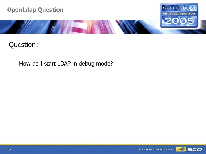 Open. Ldap Question: How do I start LDAP in debug mode? 87