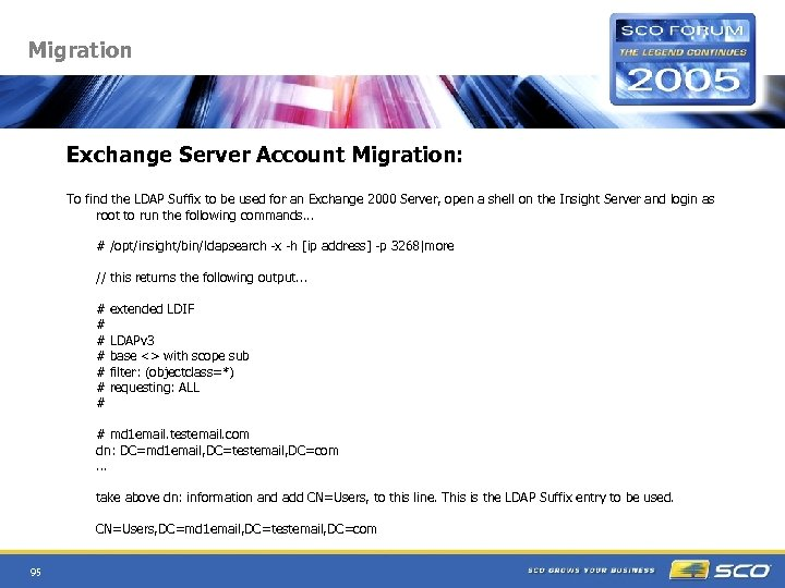 Migration Exchange Server Account Migration: To find the LDAP Suffix to be used for