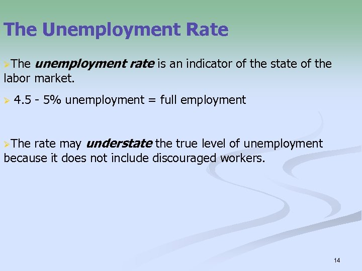 The Unemployment Rate ØThe unemployment rate is an indicator of the state of the