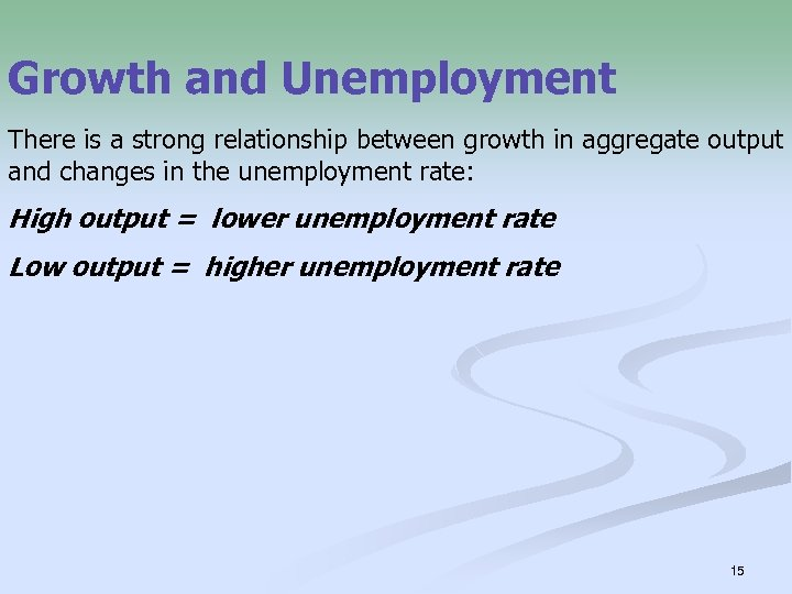 Growth and Unemployment There is a strong relationship between growth in aggregate output and