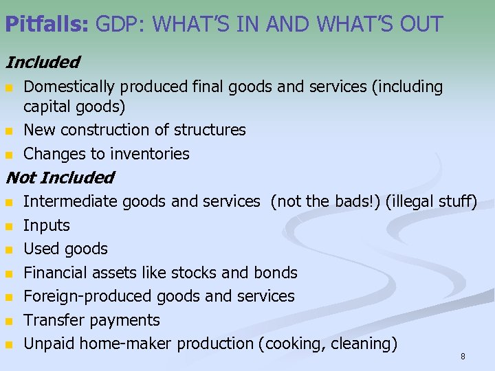 Pitfalls: GDP: WHAT'S IN AND WHAT'S OUT Included n n n Domestically produced final