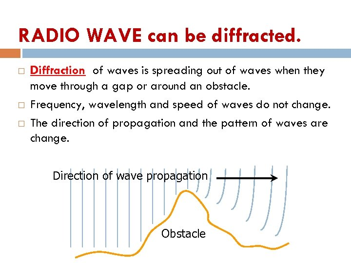 RADIO WAVE can be diffracted. Diffraction of waves is spreading out of waves when