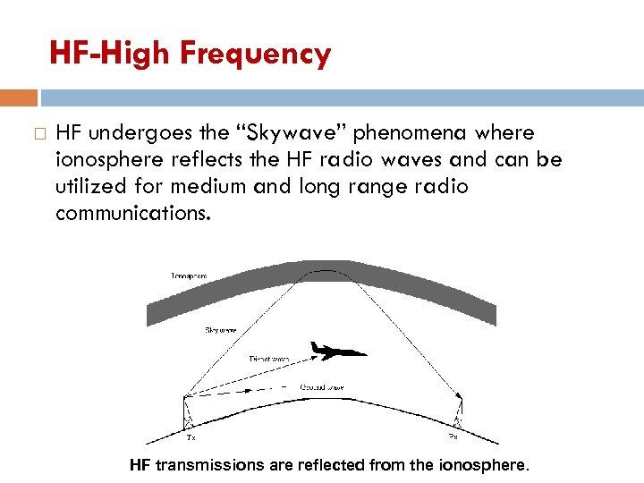 "HF-High Frequency HF undergoes the ""Skywave"" phenomena where ionosphere reflects the HF radio waves"