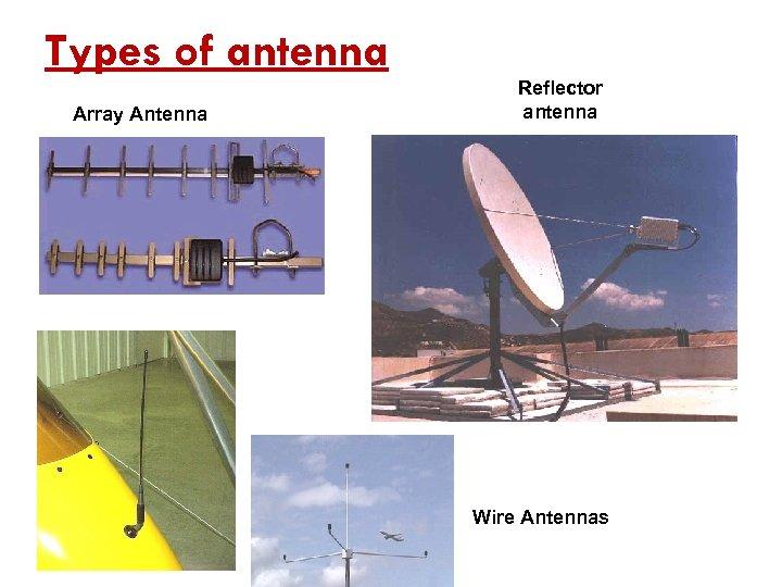 Types of antenna Array Antenna Reflector antenna Wire Antennas