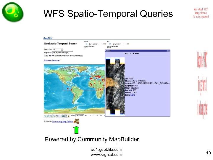 WFS Spatio-Temporal Queries Powered by Community Map. Builder eo 1. geobliki. com www. vightel.
