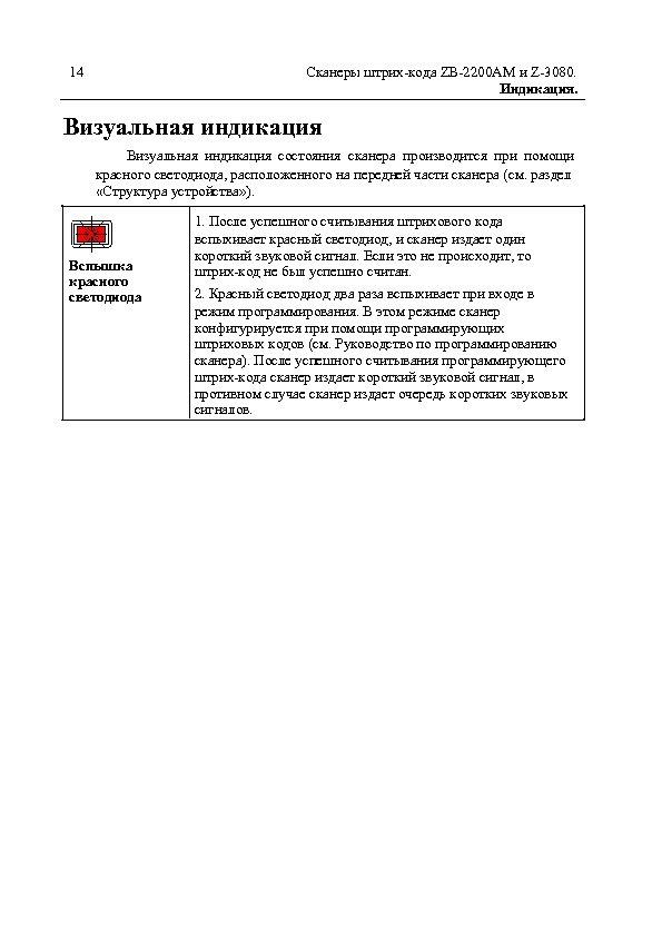 14 Сканеры штрих-кода ZB-2200 AM и Z-3080. Индикация. Визуальная индикация состояния сканера производится при